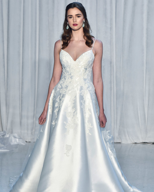 anne barge wedding dress fall 2018 a-line spaghetti strap satin