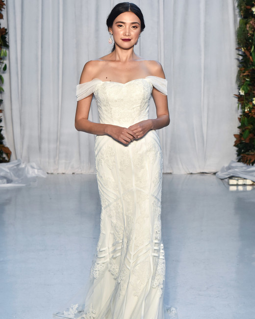 anne barge wedding dress fall 2018 off the shoulder textured