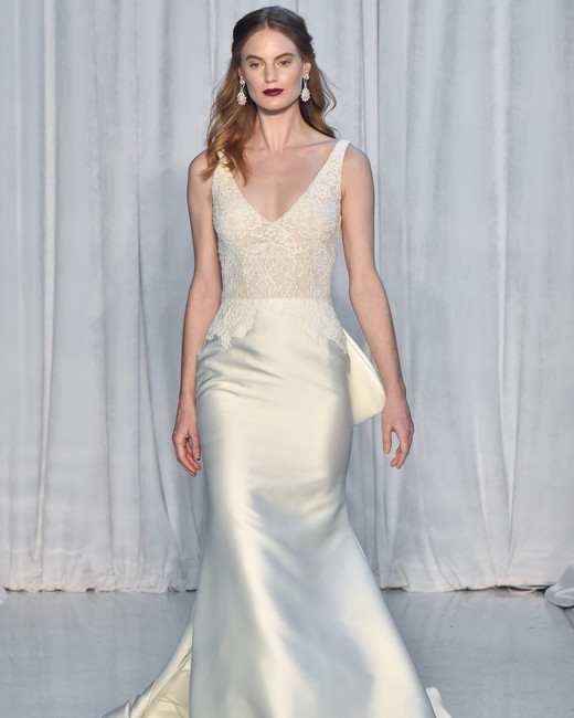 anne barge wedding dress fall 2018 sleeveless deep v satin lace