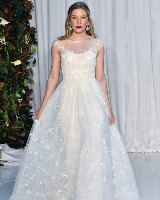 anne barge wedding dress fall 2018 illusion neckline cap sleeves ball gown