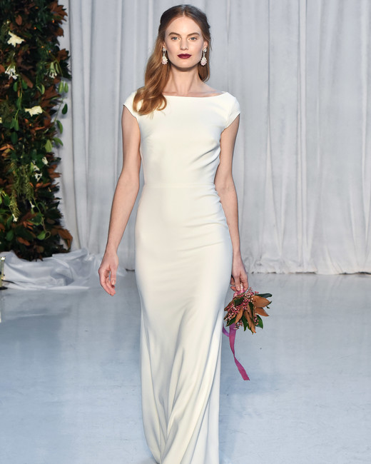 anne barge wedding dress fall 2018 cap sleeves sheath boatneck