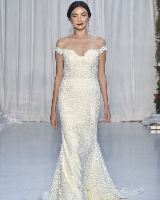 anne barge lace trumpet illusion neckline wedding dress fall 2018