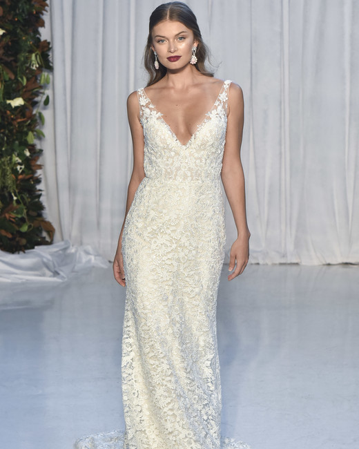 anne barge lace wedding dress with straps fall 2018