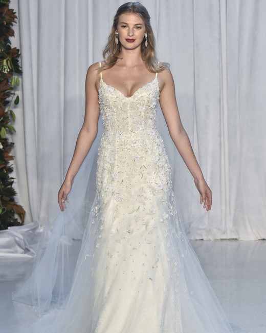 anne barge shear embellished wedding dress with spaghetti straps fall 2018