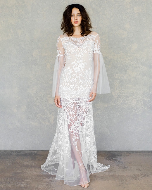 claire pettibone wedding dress spring 2019 boho long-sleeved lace overlay
