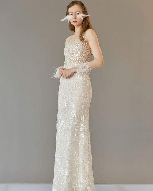 sheer long sleeve feather lace sheath wedding dress Francesca Miranda Spring 2020