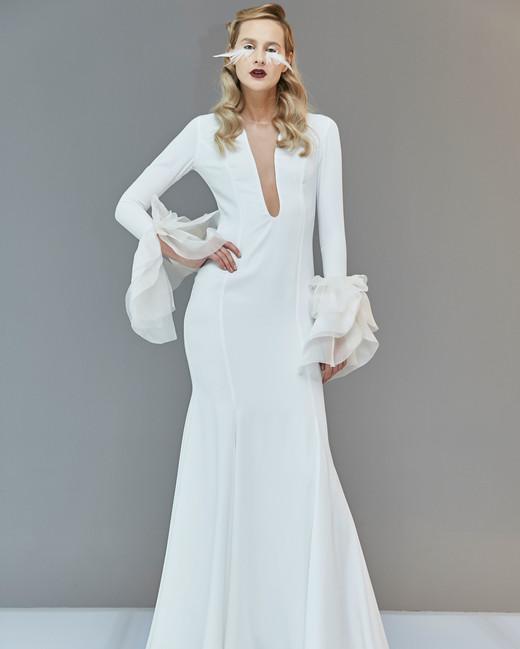 plunging v-neck long bell sleeve semi trumpet wedding dress Francesca Miranda Spring 2020