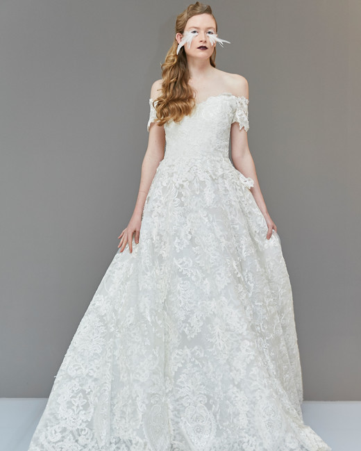 off the shoulder scalloped edge semi sweetheart embroidered lace a-line wedding dress Francesca Miranda Spring 2020