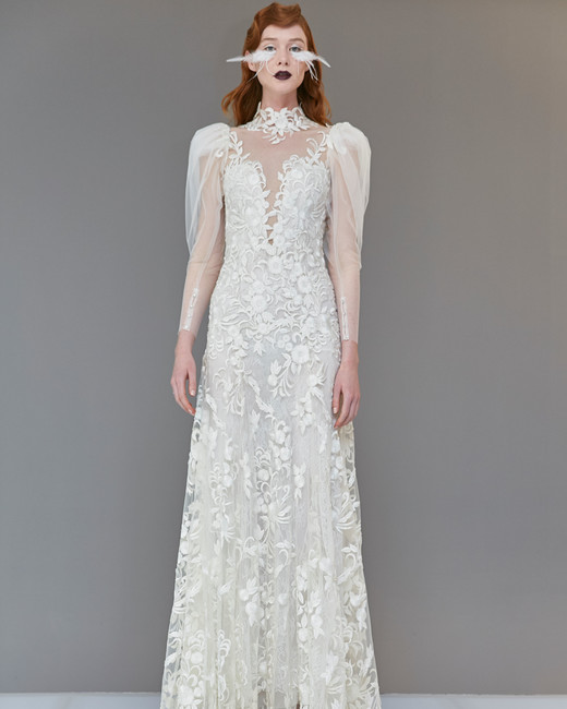 lace sheer high neck puffed long sleeves a-line wedding dress Francesca Miranda Spring 2020