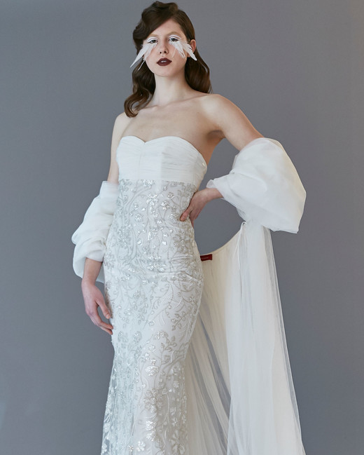 strapless semi sweetheart tulle shall semi trumpet wedding dress Francesca Miranda Spring 2020