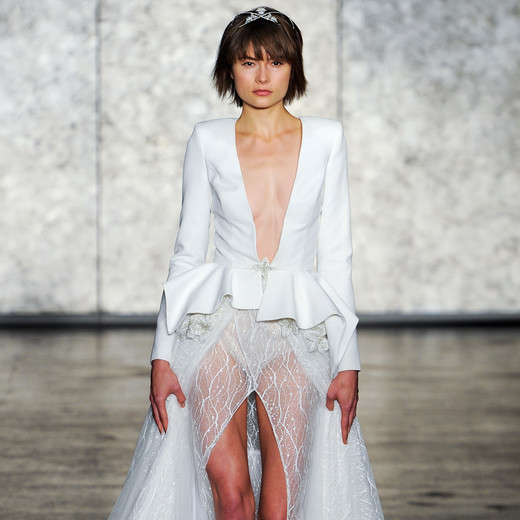 inbal dror wedding dress fall 2018 deep v jacket sheet skirt slit