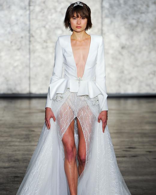 inbal dror wedding dress fall 2018 deep v jacket sheet skirt slit