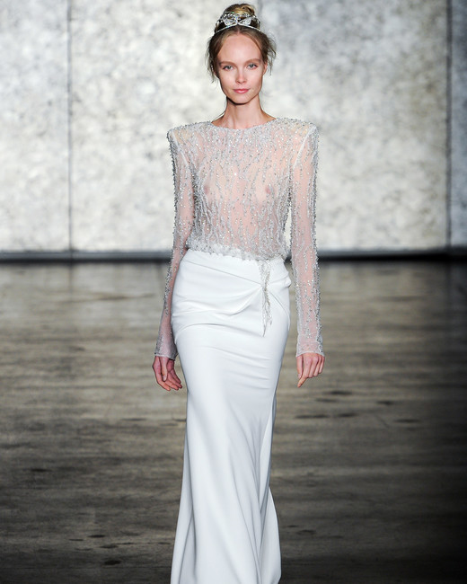 inbal dror wedding dress fall 2018 sheer long sleeves top