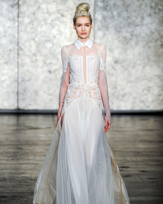 inbal dror wedding dress fall 2018 collar sheer long sleeves