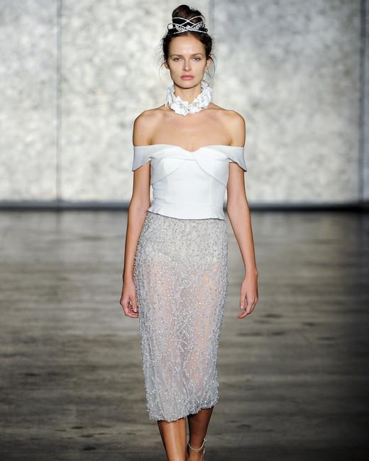 inbal dror wedding dress fall 2018 tea length pencil beaded skirt off the shoulder