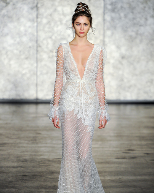 inbal dror wedding dress fall 2018 deep v long sleeves fishnet