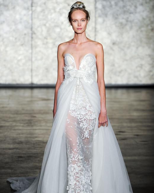 inbal dror wedding dress fall 2018 embellished tulle strapless deep v