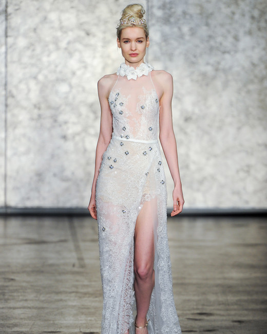 inbal dror fall 2018 sheer leg slit wedding dress