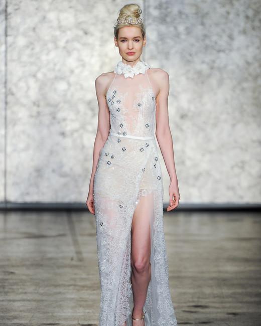 inbal dror fall 2018 sheer leg slit wedding dress