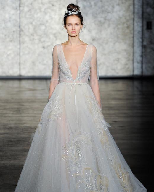 inbal dror fall 2018 plunging v-neck a-line wedding dress