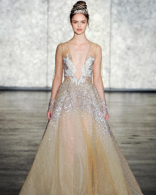 inbal dror fall 2018 gold sheer beaded wedding dress