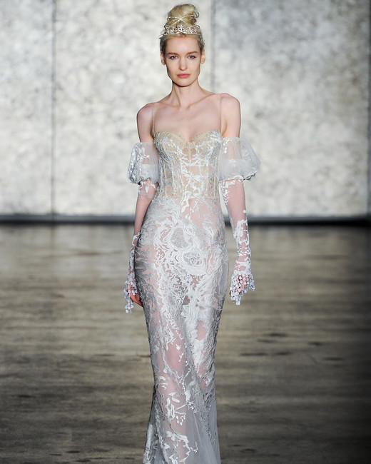 inbal dror fall 2018 v-neck lace flutter sleeve wedding dress