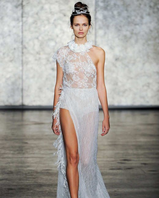inbal dror fall 2018 sheer floral collar wedding dress