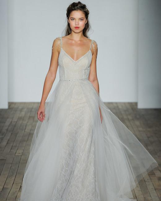 lazaro fall 2018 spaghetti strap sheer wedding dress