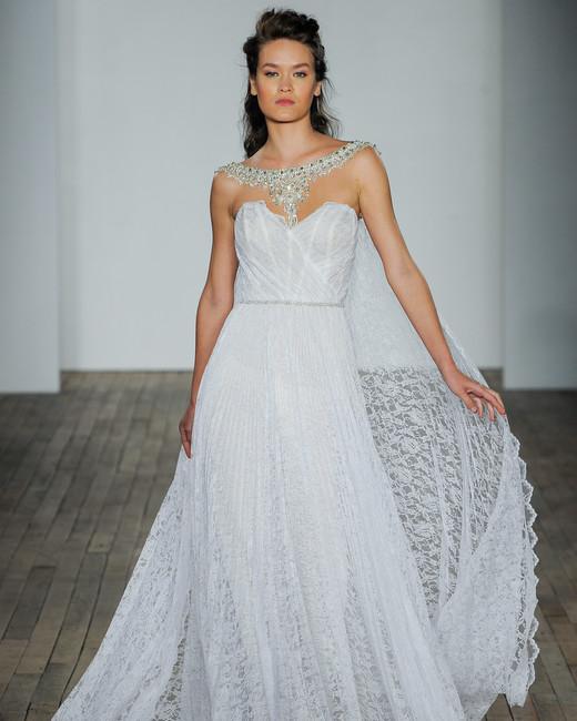 lazaro fall 2018 sweetheart lace overlay jeweled neckline wedding dress