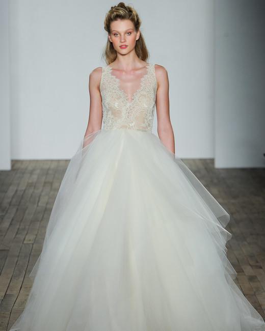 lazaro fall 2018 gold v-neck chiffon wedding dress