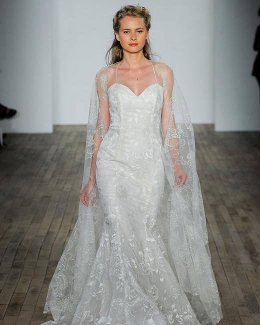 lazaro fall 2018 sweetheart lace overlay trumpet wedding dress
