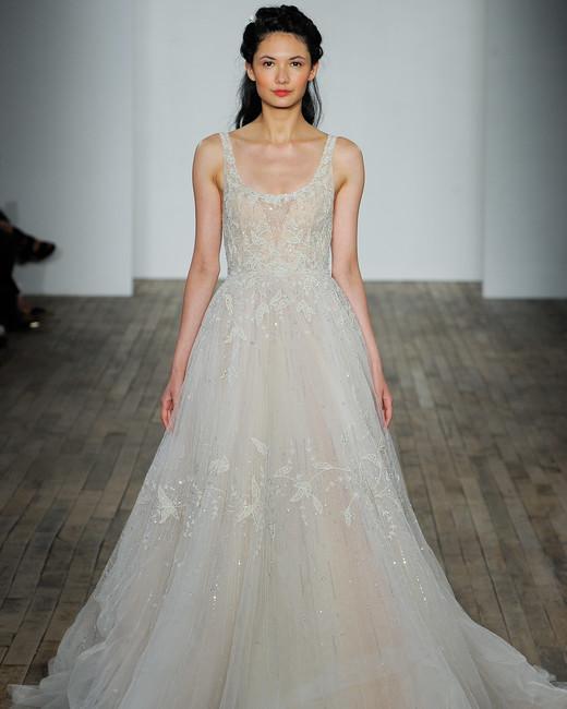 lazaro fall 2018 scoop neck lace overlay wedding dress