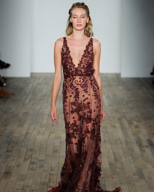 lazaro fall 2018 maroon sheer lace wedding dress