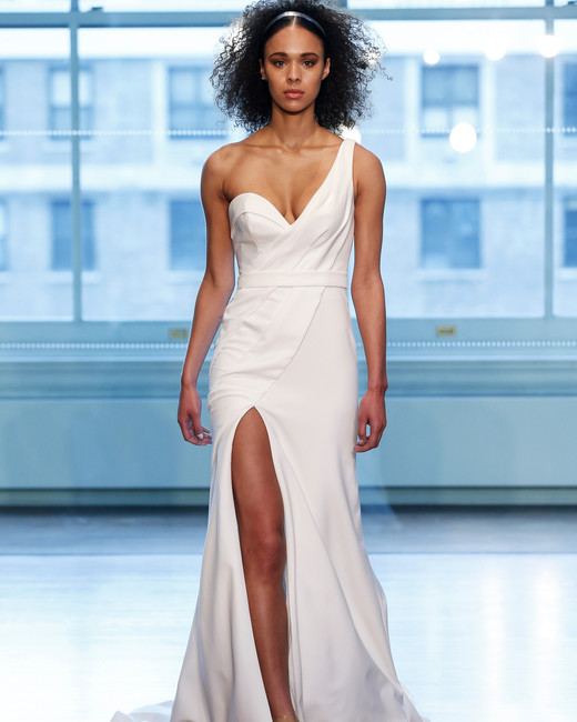 justin alexander wedding dress spring 2019 one shoulder high slit