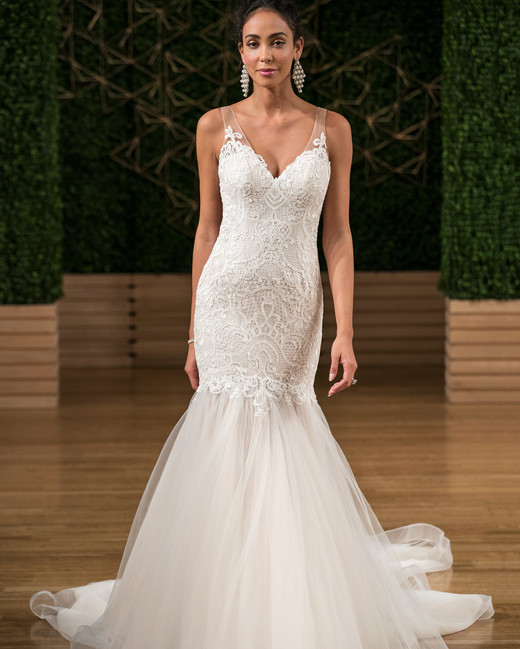 47ab31bf984 maggie sottero wedding dress fall 2018 v neck trumpet lace