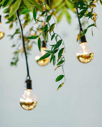modern wedding gold-dipped light bulbs