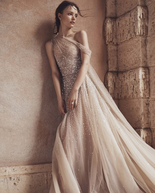 tan one shoulder tulle glitter a-line Monique Lhuillier Spring 2020