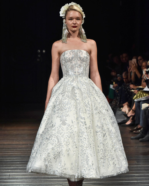 naeem khan wedding dress fall 2018 silver embellishment tea length strapless