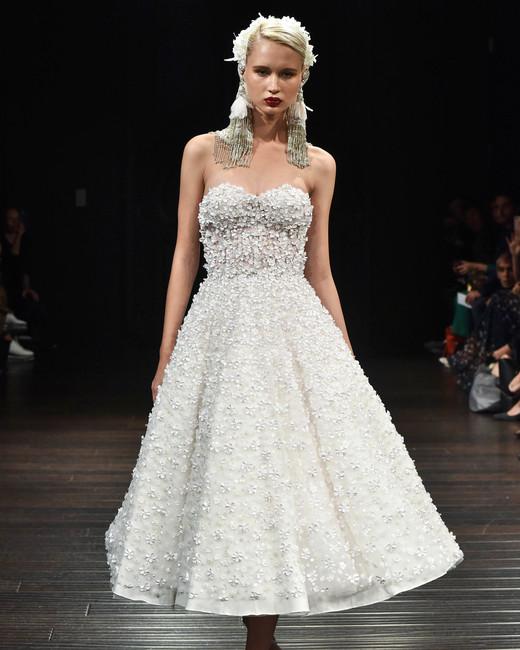 naeem khan wedding dress fall 2018 floral embellishment tea length strapless