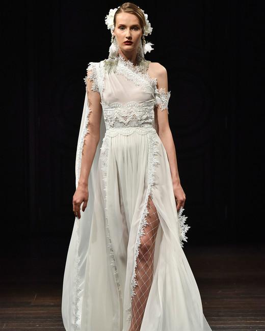 naeem khan wedding dress fall 2018 lace one shoulder slit