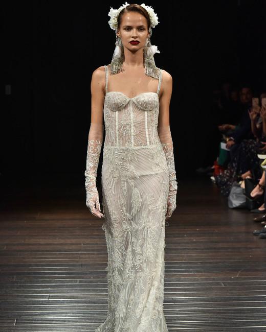 naeem khan wedding dress fall 2018 spaghetti strap beading column