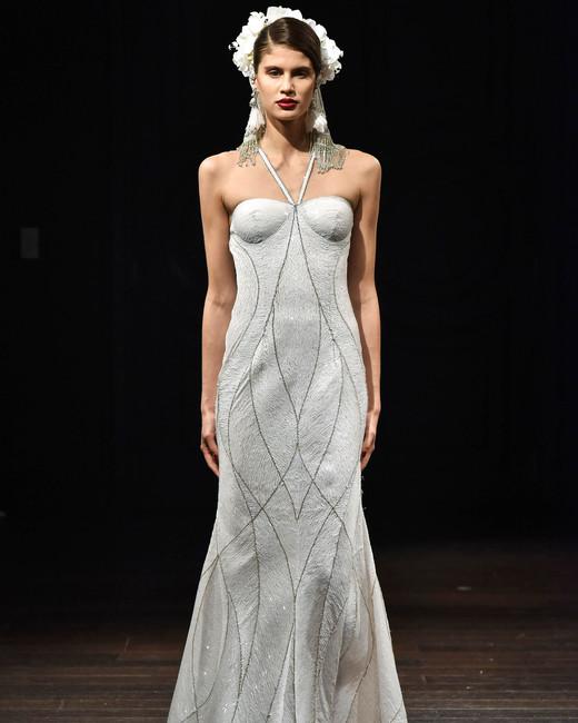 naeem khan wedding dress fall 2018 halter textured beading