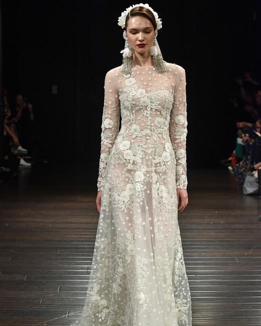 naeem khan wedding dress fall 2018 sheer floral lace long sleeve