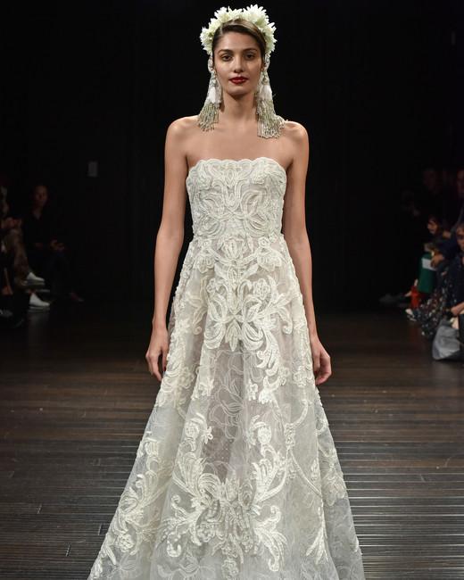naeem khan wedding dress fall 2018 lace strapless a-line