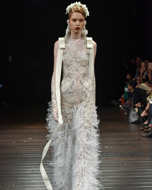 naeem khan wedding dress fall 2018 sleeveless high neck fringe
