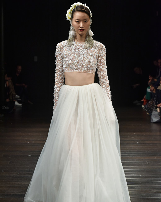 naeem khan wedding dress fall 2018 separates long sleeve tulle skirt