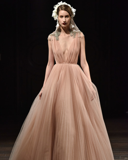 naeem khan wedding dress fall 2018 peach v-neck a-line