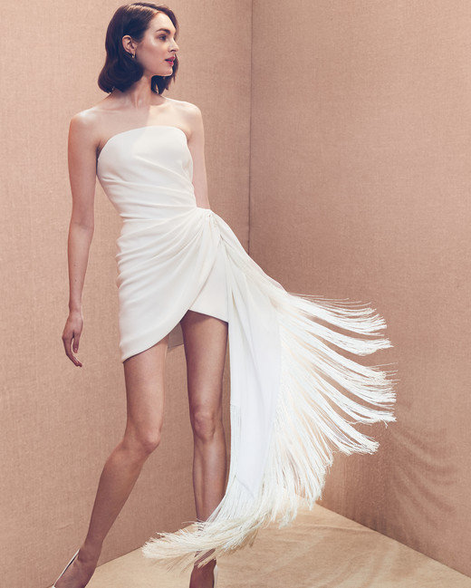 strapless straight across rushing fringe short wedding dress Oscar de la Renta Spring 2020