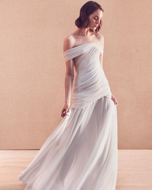 off-the-shoulder straight across tulle ruching trumpet wedding dress Oscar de la Renta Spring 2020