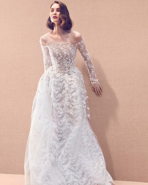 fe1c3ed6af3ca sheer lace scalloped edging off-the-shoulder long sleeve a-line wedding  dress